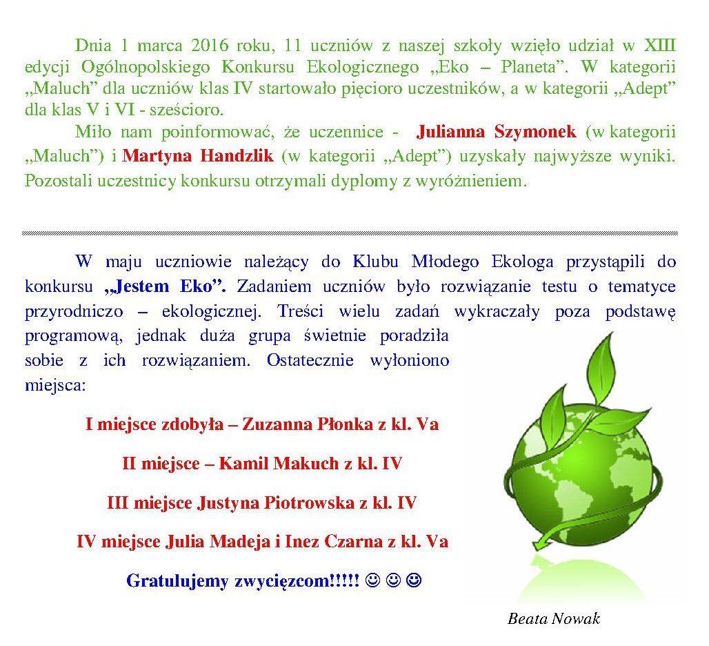 """XIII edycji Ogólnopolskiego Konkursu Ekologicznego """"Eko – Planeta"""""""
