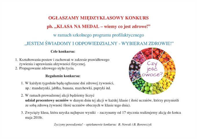 """OGŁASZAMY MIĘDZYKLASOWY KONKURS ph. """"KLASA NA MEDAL – wiemy co jest zdrowe!"""""""